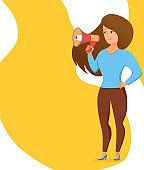 Woman holding loudspeaker calling for attention vector cartoon illustration. Young girl with megaphone in her hand with text template for important information, advertisement, sale design concept