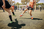 Determined female soccer players