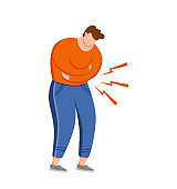Man suffering of stomach pain vector illustration. Guy feel stomach ache chronic gastritis pressing hands on his abdomen. Concept for medical clinics with indigestion, irritation, inflammation, colic.