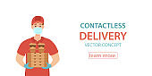 Contactless delivery during the prevention of coronavirus vector concept.