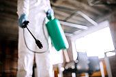 Disinfecting office during corona virus pandemic