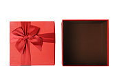 Open empty red gift box on the white background (Clipping Path)