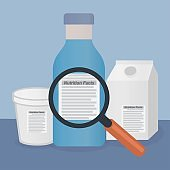Magnifying glass on a product label with the text nutrition facts, read the label concept
