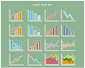 Graph vector illustration set. Line graph . Stock price. chart. Bar graph.