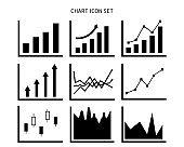 Graph vector illustration set.  Line graph . Stock price. Rising chart. Bar graph