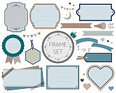 Vector illustration set of various frames. Tags, frames, frames, sticky notes, ribbons, speech bubbles, headlines, flags, megaphones, crowns