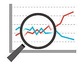 Vector illustration of magnifying graph with magnifying glass. Magnifier icon. Arrow. Stock price rise. Business.