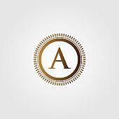 Initial Letter icon vintage gold Vector illustration design