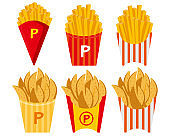 Vector illustration of french fries .