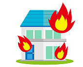 Illustration of a residence. House illustration. simple. Home insurance . Fire