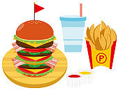 Vector illustration of a set of cheese and beef burger with french fries and juice