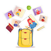 Backpack and teacher with kids studying by internet. Online Education, Distance learning, Teaching, Study, School concept.
