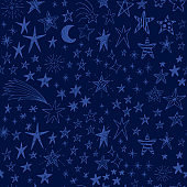 Cute vector background with hand drawn doodle funny stars, comets and moon