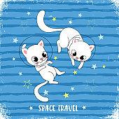 Space explorers cat print design