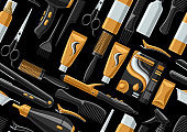 Barbershop seamless pattern with professional hairdressing tools.