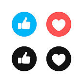 Thumbs up and heart icon on a white background. Modern flat style vector illustration