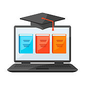 Online studying at home concept. Distance education.