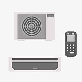 Set of climate technology. An air conditioning device for comfortable stay and living in an apartment if it is hot or cold outside. Vector illustration for web design, catalog design.