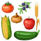 Harvest set of fruits and vegetables.