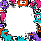 Background with cartoon monsters.