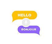 Online voice language translator. Chat bubbles translation for best communication or learning languages. Logo design. Vector illustration