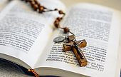 Still Life with Bible and wooden rosary