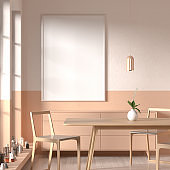 Mock up poster frame in Scandinavian style dining room with wooden chair and table.  Minimalist dining room design. 3D illustration.