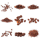set of roasted coffee beans. Isolated on a white background.