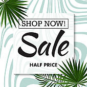 Tropical sale banner , sidewide sale promotion for email list or social media announcement, clearance coupon. EPS 10