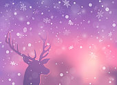 Deer stares at sunrise.Snowflakes swirl in the air. for greeting season or party invitation, Christmas, New Year. EPS 10