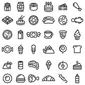 Set Abstract Doodle Elements Hand Drawn Collection Fast Food Pizza Hamburger Snack Drink Croissant Sketch Vector Design Style Background Menu Illustration Icons