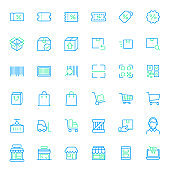 Set of shopping and store colored line style Icons.