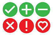 check icon mark sign set vector illustration. stock correct checklist box. tick heart x ok true cancel list.  green and red on white background isolated. line graphic symbol done verify ok plus.