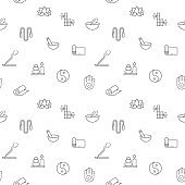 Seamless pattern with yoga and spa icon on white background.