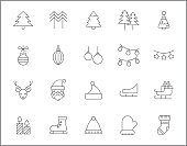 Set of Christmas and holiday line style.