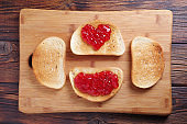 Bread with strawberry jam