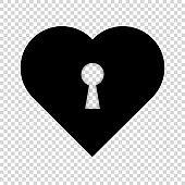 heart key love open lock concept vector illustration. door keyhole icon. romantic symbol. valentine security sign. isolated shape padlock. close protection. white background.