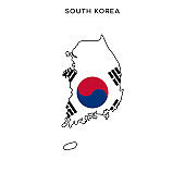 South Korea map with flag vector stock illustration design template. Editable stroke.