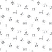 Seamless pattern with amusement park and playground icon on white background.