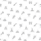 Seamless pattern with construction and industry icon on white background.