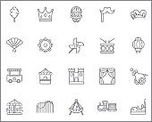 Set of carnival and amusement park Icons line style.
