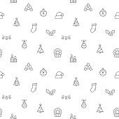 Seamless pattern with Christmas and holiday icon on white background.