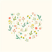 Hand drawn spring flower collection.