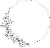 Floral Wreath branch in hand drawn style.