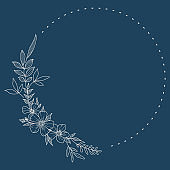 Floral Wreath branch in hand drawn style. Floral round navy blue and beige frame of twigs, leaves and flowers.