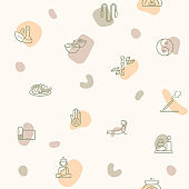 Seamless pattern on the theme of yoga, spa, wellness, pose, beauty, peace, therapy, candle, healthy, massage, relax, lotus and more. simple color icons on beige background.