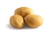 three seasonal potatoes isolated from white background