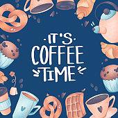 Digital illustration tea and coffee cups