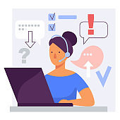 Call center online customer support woman operator. Stylized vector flat illustration