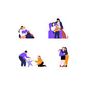 Collection of flat illustrations of different lesbian couples and families with and without kids. Pride month concept